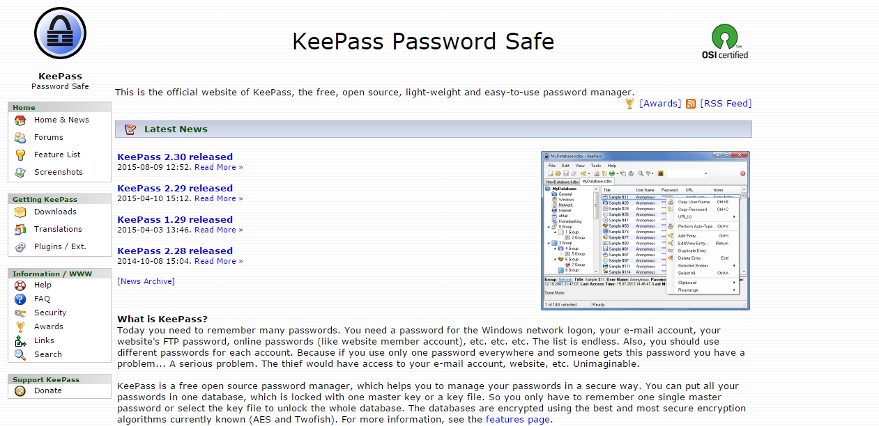 KeePass - criar e guardar passwords